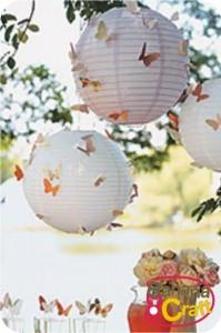 lanternas japonesas com borboletas
