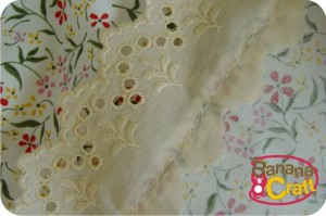 costura- saia estampada com bordado inglês