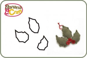 natal - molde de folhas de azevinho de feltro