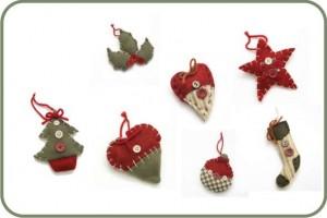 pinheiro, azevinho, bola, estrela, coração de feltro