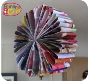 reciclagem - guirlanda com páginas de revistas