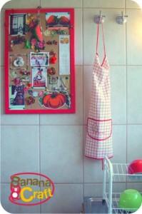 mural de cortiça na cozinha