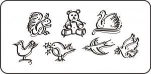 clipart - pássaros, urso, esquilo e cisne