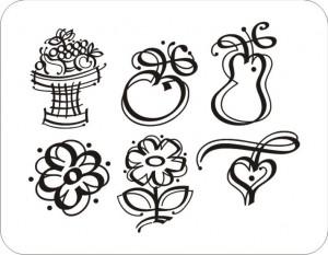 clipart - maçã, pêra, coração, flor, cesta