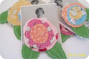 fabric flowers - scraps