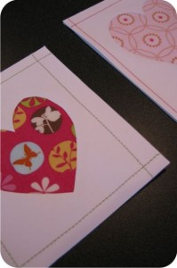 cartão com colagem de tecido