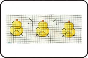 gráfico de ponto cruz - patinhos