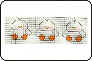 gráfico de ponto cruz - pintinhos