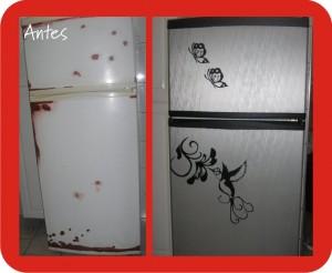 geladeira customizada com adesivo de vinil