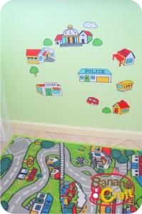 ímãs iguais ao tapete com cidade - quarto bebê