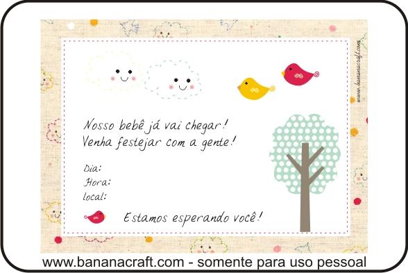 Para Imprimir Convite Para Cha De Fraldas Bananacraft