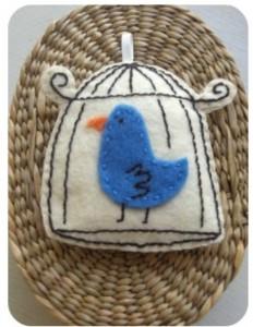 bird cage - felt - embroidery