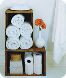 crate storage - bathroom