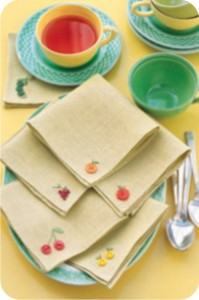 fruity button embroidery napkins