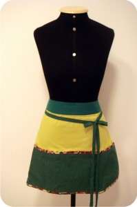 avental verde amarelo