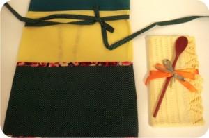 kit avental e pano de prato verde amarelo