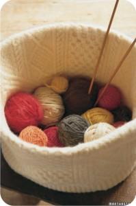 felted knitting basket