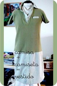 vestido feito com camisa e camiseta