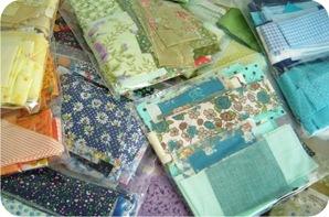 retalhos de tecido organizados
