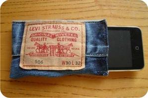 case para celular feito com calça jeans velha