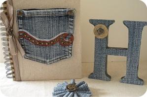 capa de agenda com jeans reaproveitado
