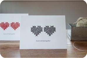 cartão com coração bordado