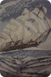 quadro bordado com barco