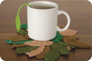coaster de folhas de feltro
