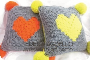 crochet heart cushion