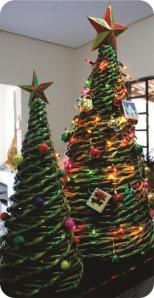 upcycled newspaper christmas tree
