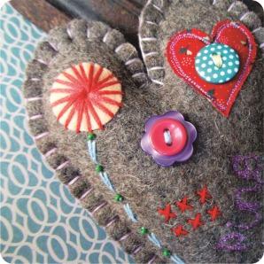 felt embroidery heart pincushion